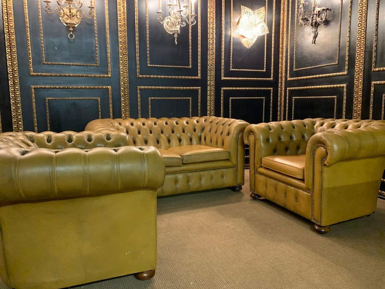 English Mustard Yellow Leather Chesterfield Club Suite Armchair and Sofa For Sale