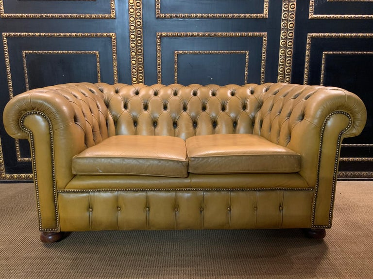 Mustard Yellow Leather Chesterfield Club Suite Armchair and Sofa For Sale 2
