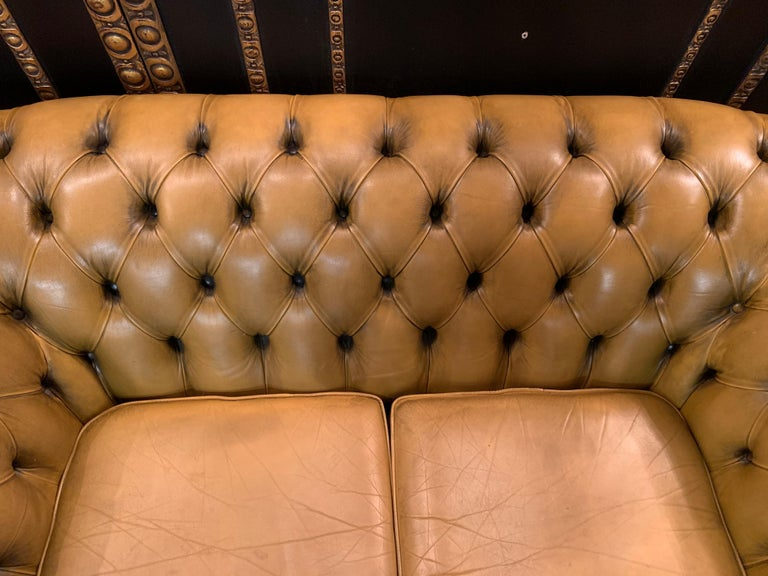 Mustard Yellow Leather Chesterfield Club Suite Armchair and Sofa For Sale 4
