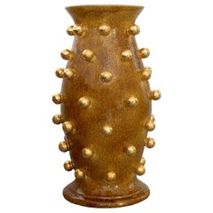 Mustard Yellow Vase with Golden Spheres