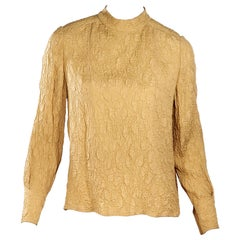Mustard Yellow Vintage Chanel Silk Crepe Blouse