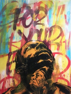 Break Free by street artist MUSTART, portrait & text, spray paint, bold & bright