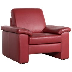 Musterring Designer Leather Armchair Red One-Seat Chair