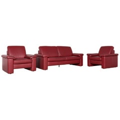 Musterring Designer Leather Sofa Armchair Set Red Three-Seat Couch