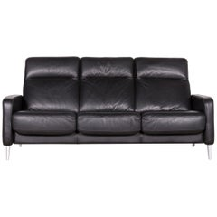 Musterring Designer Leather Sofa Black Three-Seat Couch