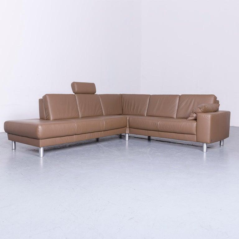 Musterring Designer Leather Sofa Footstool Set Brown Three Seat