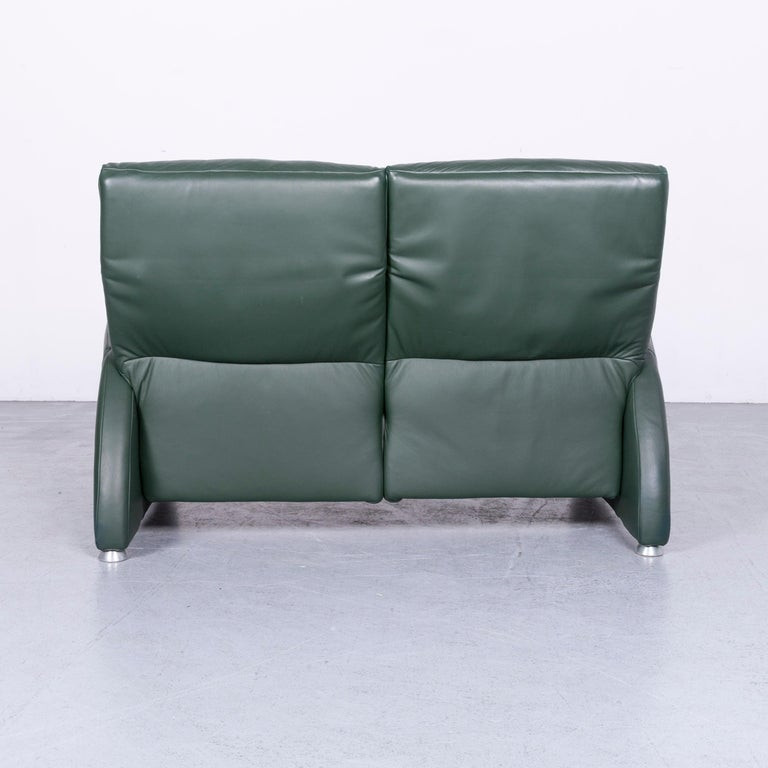 Musterring Designer Leather Sofa Green Two-Seat Couch 5