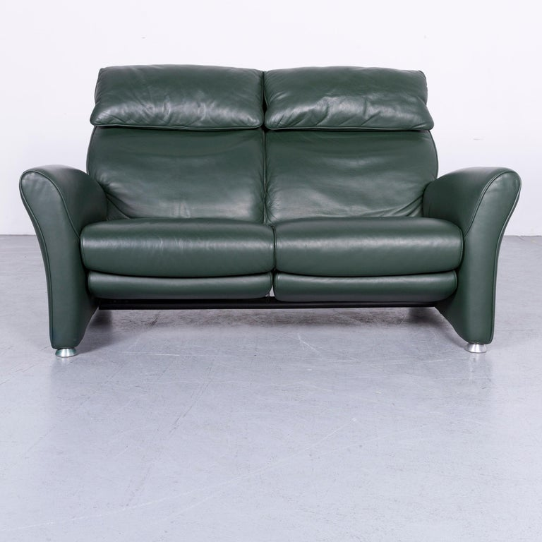 We bring to you a Musterring designer leather sofa green two-seat couch.