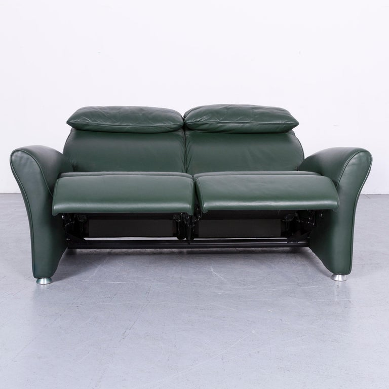 German Musterring Designer Leather Sofa Green Two-Seat Couch