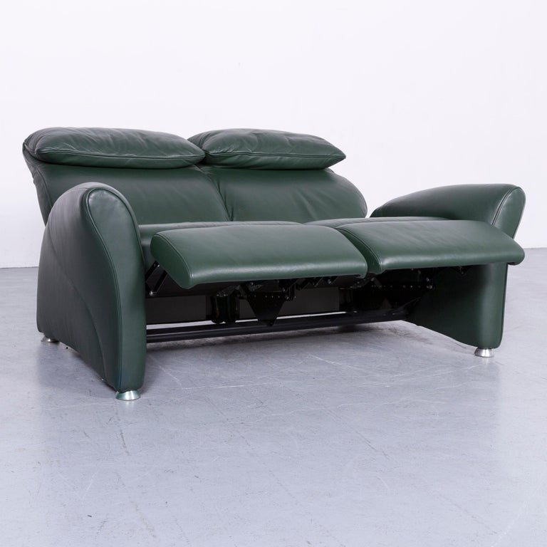 Musterring Designer Leather Sofa Green Two-Seat Couch In Good Condition In Cologne, DE