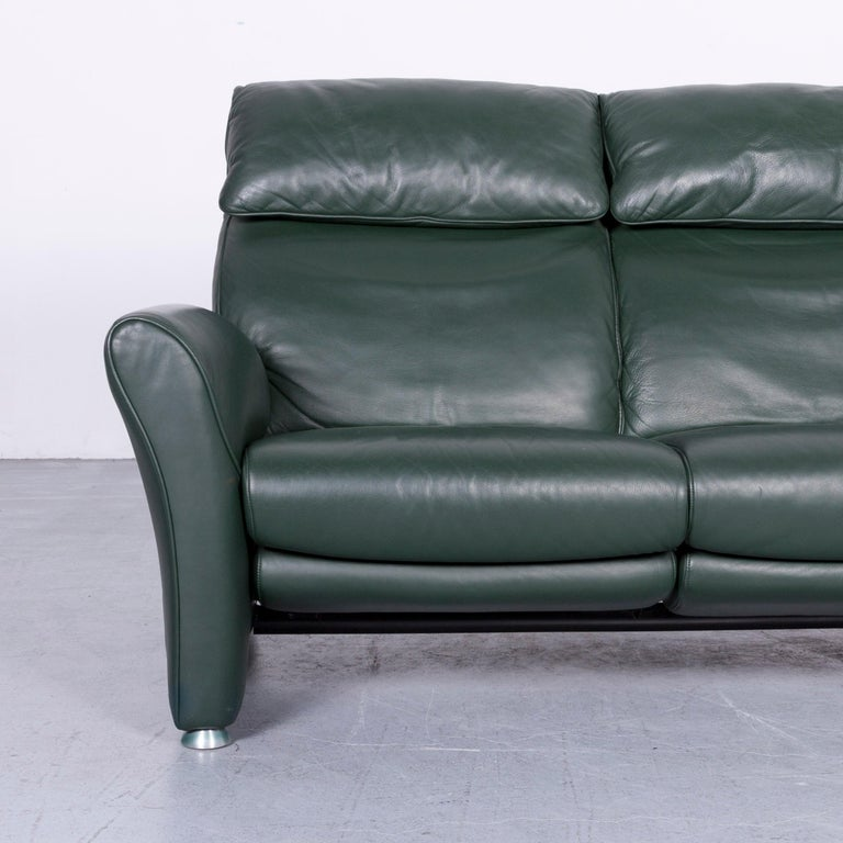 Contemporary Musterring Designer Leather Sofa Green Two-Seat Couch