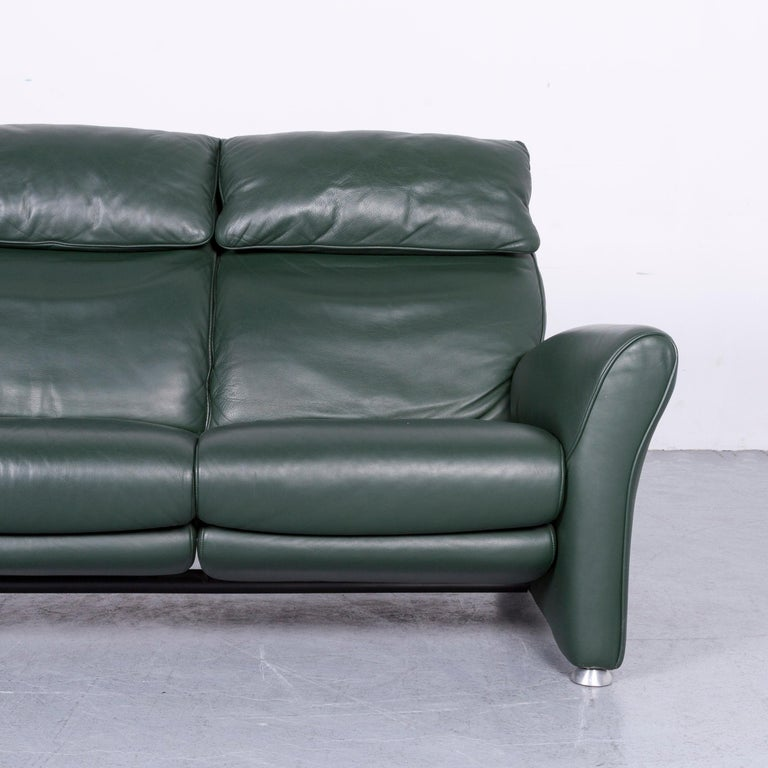 Musterring Designer Leather Sofa Green Two-Seat Couch 1