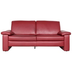 Musterring Designer Leather Sofa Red Three-Seat Couch
