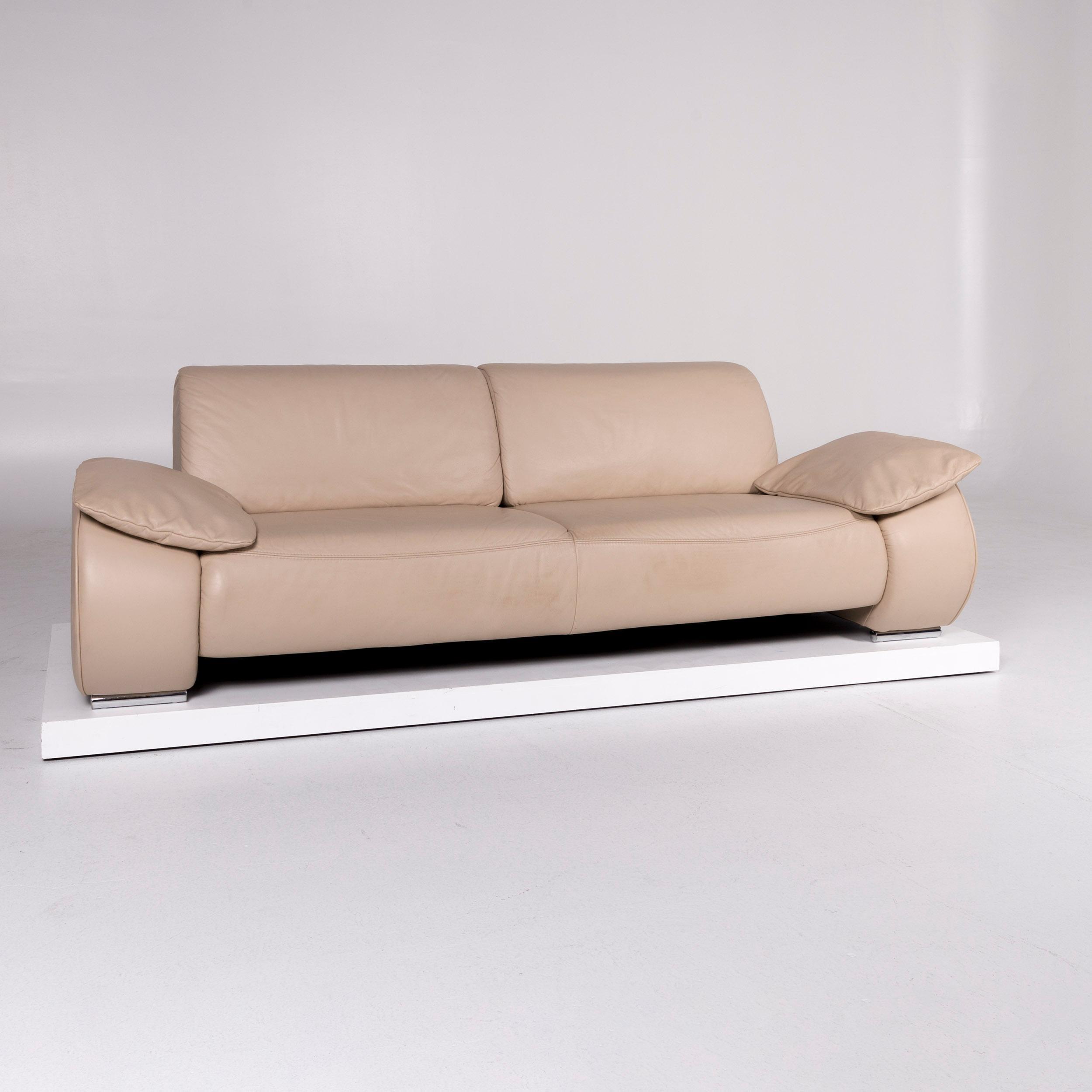 Musterring Designer Leder Sofa Beige Dreisitzer