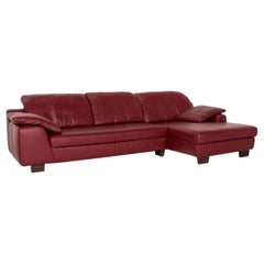 Musterring Leather Corner Sofa Red Dark Red Sofa Couch