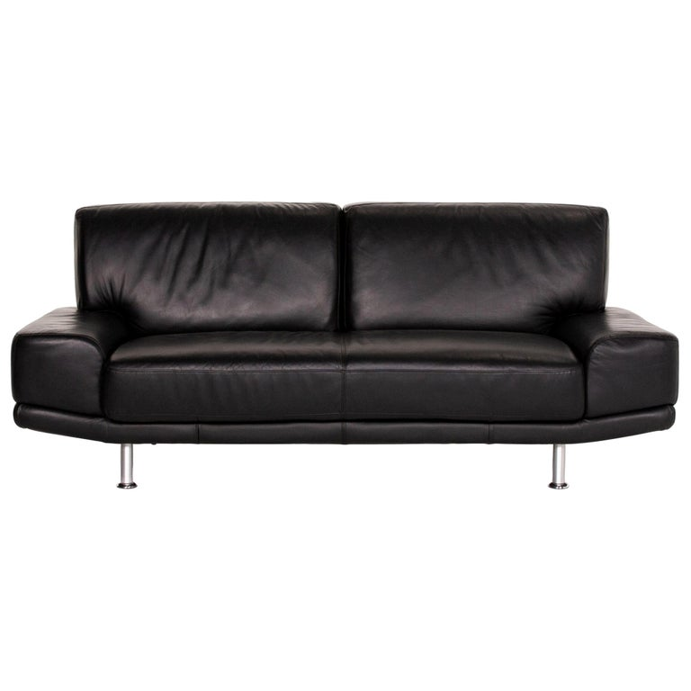 Musterring Leather Sofa Black Two-Seat Couch