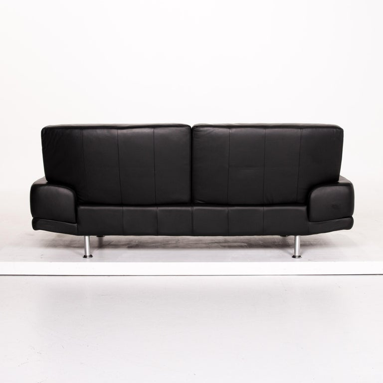 Musterring Leather Sofa Black Two-Seat Couch 4