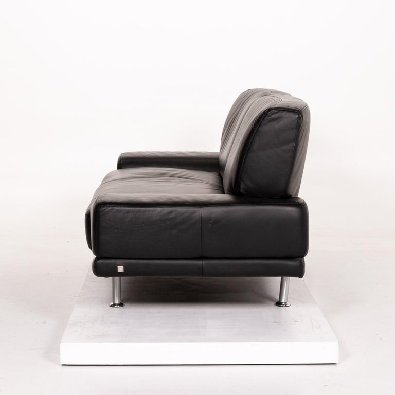 Musterring Leather Sofa Black Two-Seat Couch 5