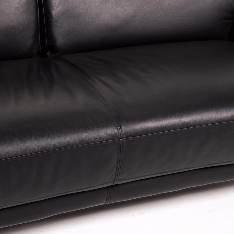 Modern Musterring Leather Sofa Black Two-Seat Couch