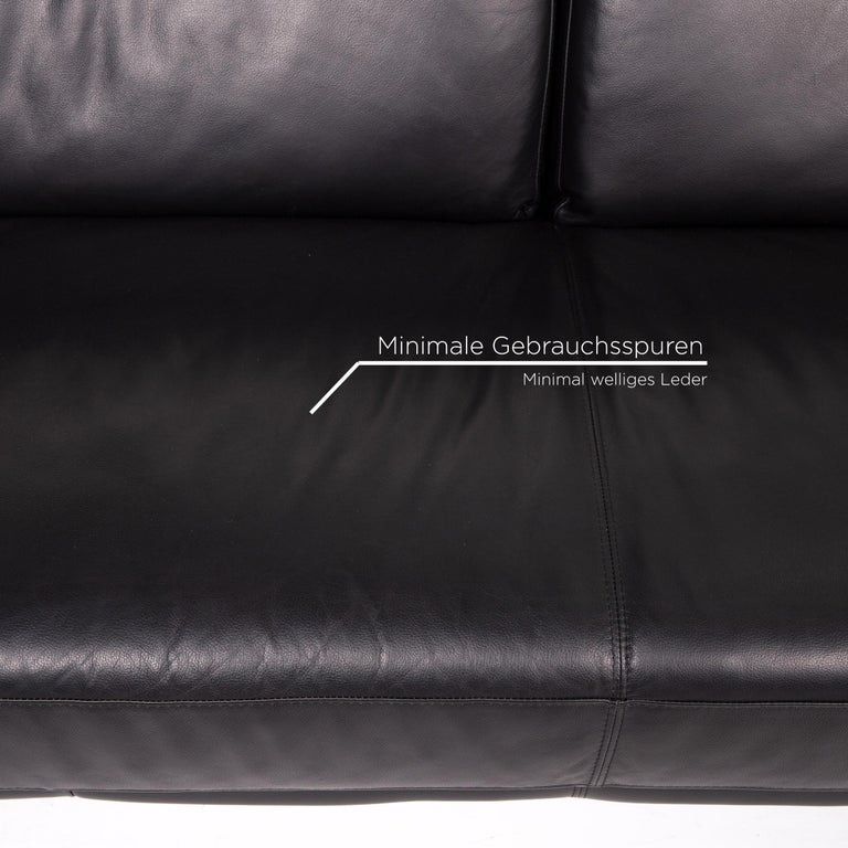 European Musterring Leather Sofa Black Two-Seat Couch