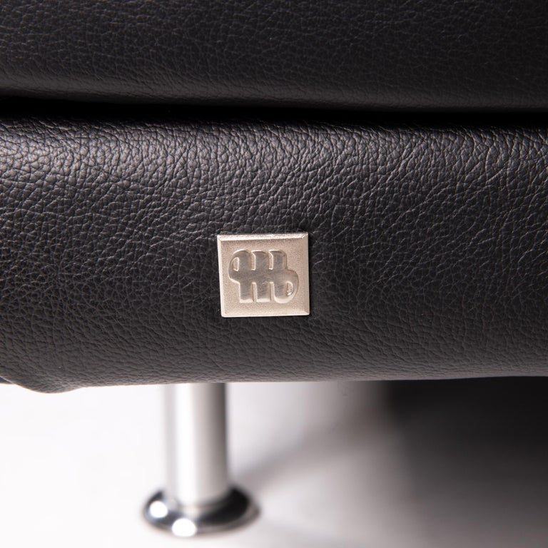 Contemporary Musterring Leather Sofa Black Two-Seat Couch