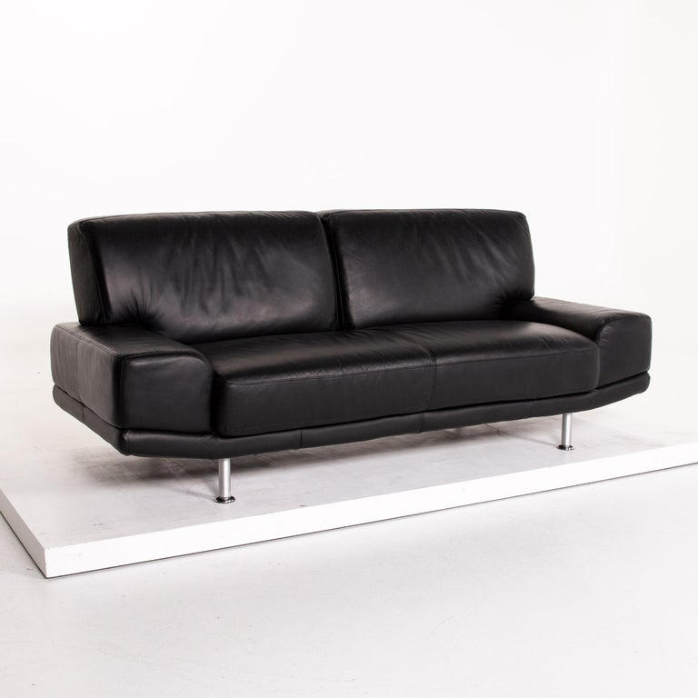 Musterring Leather Sofa Black Two-Seat Couch 1