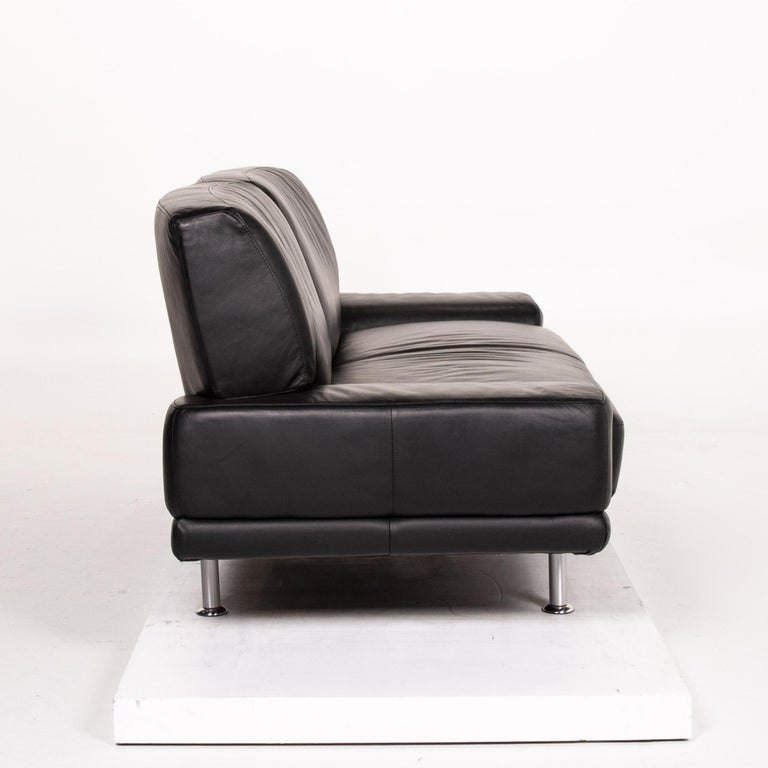 Musterring Leather Sofa Black Two-Seat Couch 3