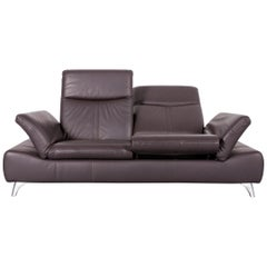 Musterring Leather Sofa Brown Three-Seat Couch