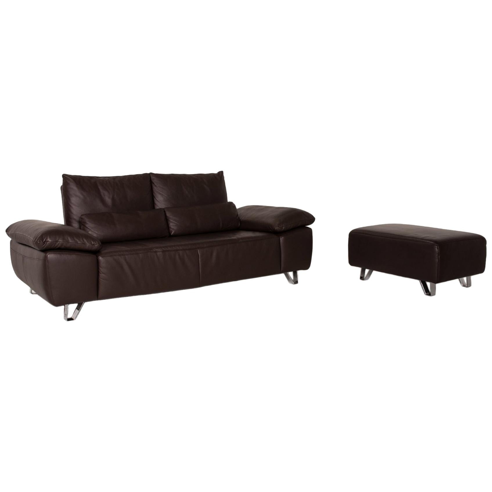 Musterring MR 680 Two-Seater Sofa and Stool Set Brown Leather Couch Function