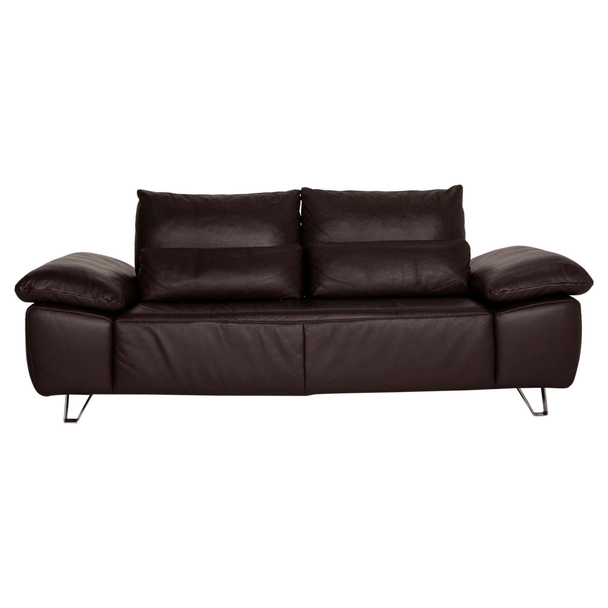 Musterring MR 680 Two-Seater Sofa Brown Leather Couch Function