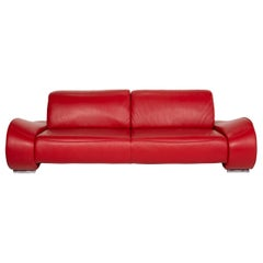 Musterring Mr-740 Leather Sofa Red Three-Seater Function