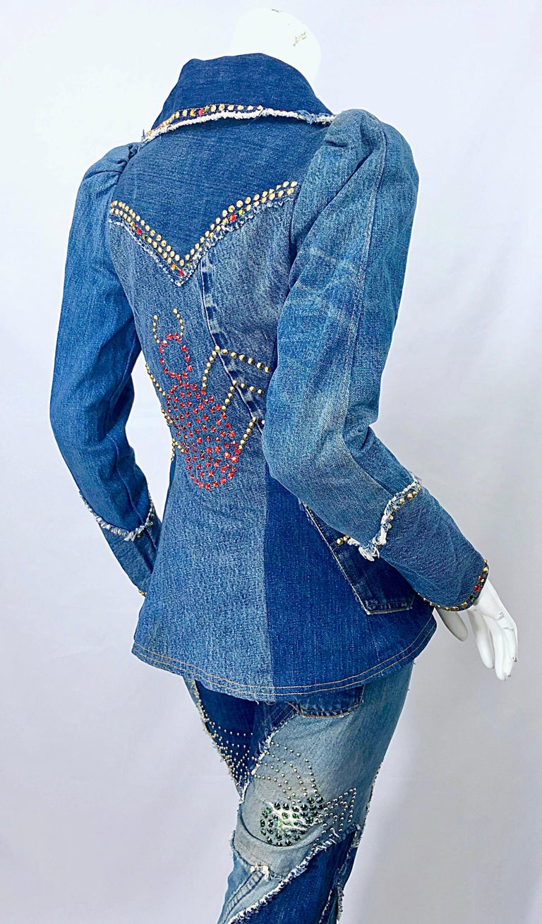 Musuem Piece Love, Melody Sabatasso 1970s Custom Blue Jean Denim Rhinestone Suit For Sale 7