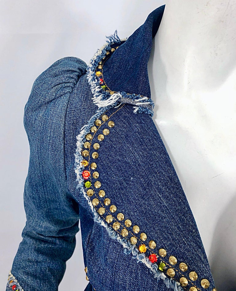 Musuem Piece Love, Melody Sabatasso 1970s Custom Blue Jean Denim Rhinestone Suit For Sale 10