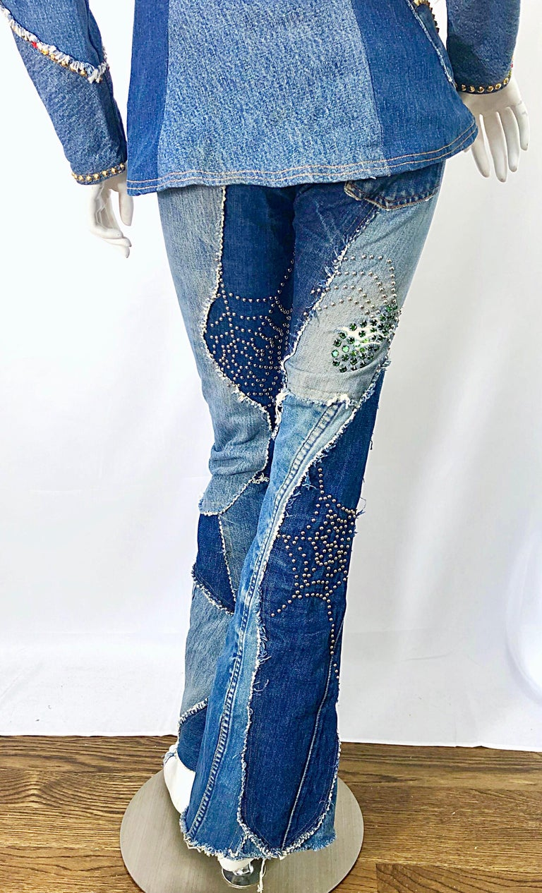 Musuem Piece Love, Melody Sabatasso 1970s Custom Blue Jean Denim Rhinestone Suit For Sale 11