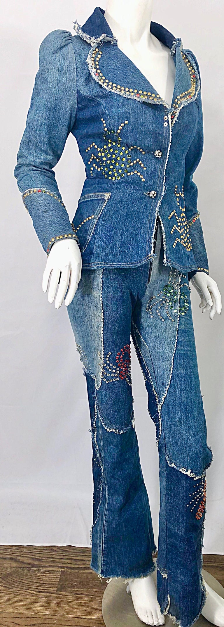 Musuem Piece Love, Melody Sabatasso 1970s Custom Blue Jean Denim Rhinestone Suit For Sale 12
