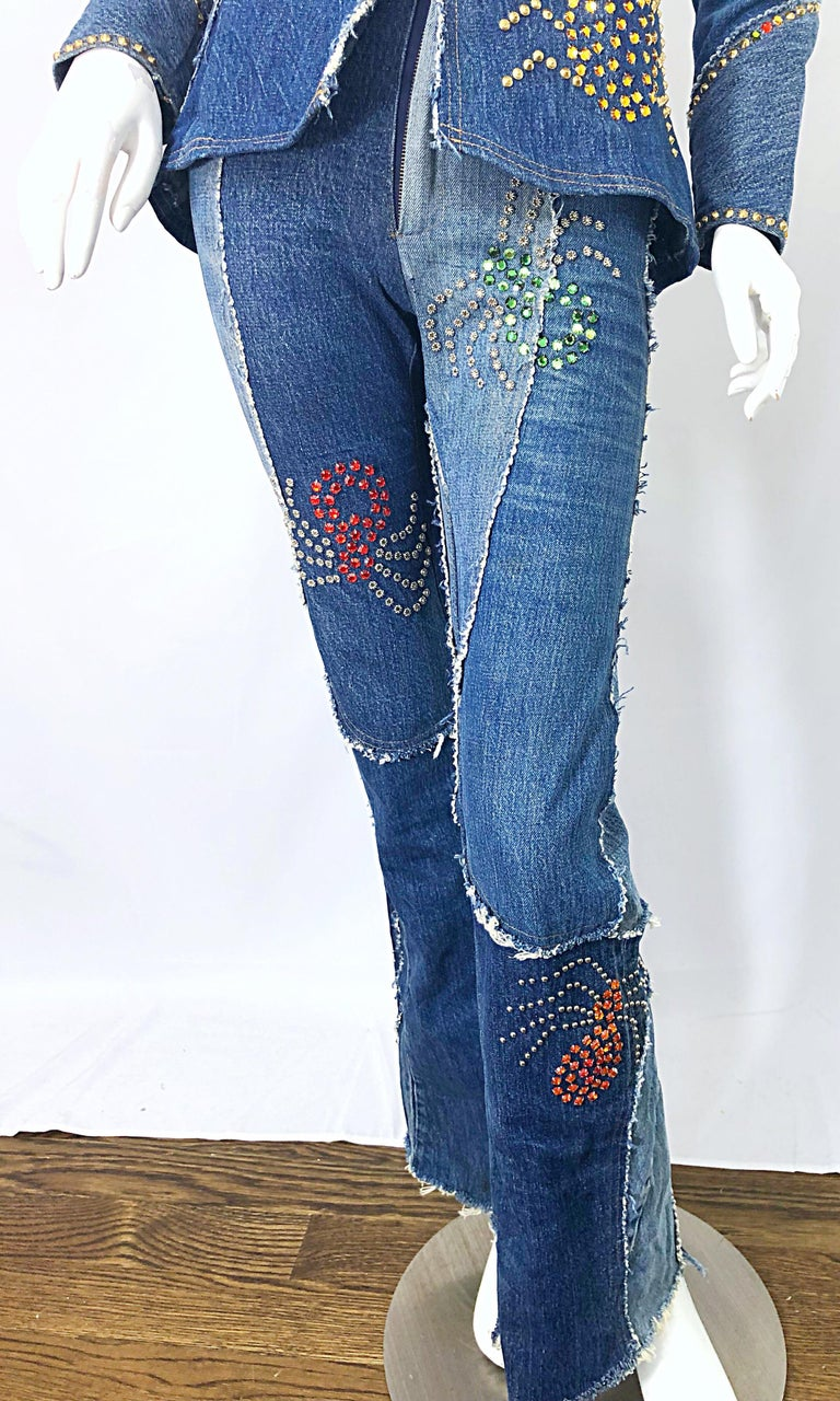 Musuem Piece Love, Melody Sabatasso 1970s Custom Blue Jean Denim Rhinestone Suit For Sale 14