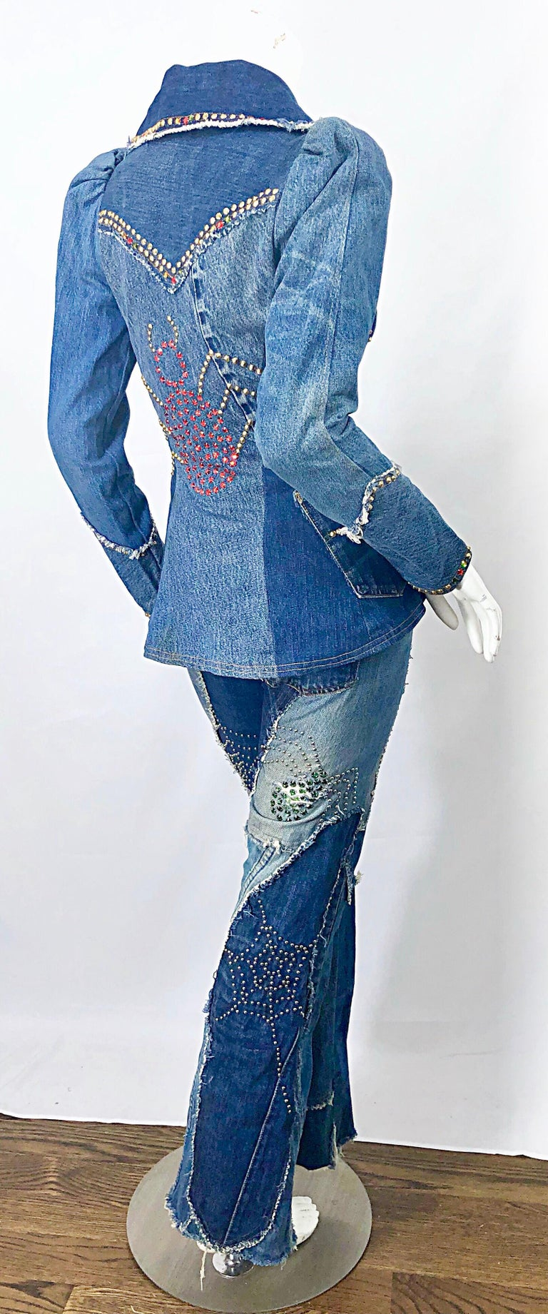 Musuem Piece Love, Melody Sabatasso 1970s Custom Blue Jean Denim Rhinestone Suit For Sale 15