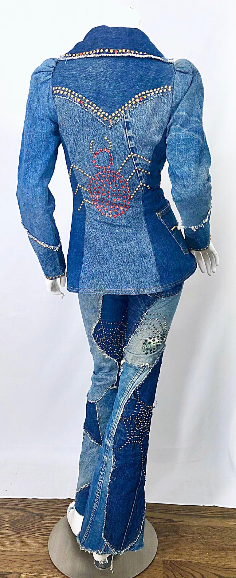 Amazing musuem quality LOVE, MELODY custom denim blue jean ensemble! Melody Sabastasso was known for her custom made denim work. She solely used Levi's denim, and dressed everyone from Lenny Kravitz, Barbara Streisand, Sonny & Cher, Janis Joplin,