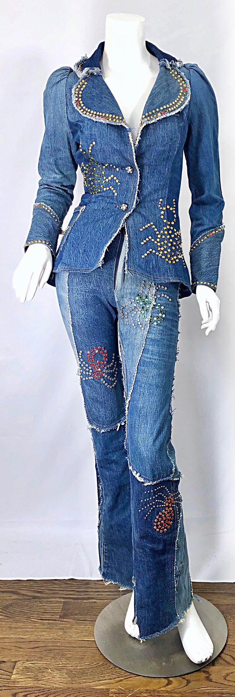 Musuem Piece Love, Melody Sabatasso 1970s Custom Blue Jean Denim Rhinestone Suit In Good Condition For Sale In Chicago, IL