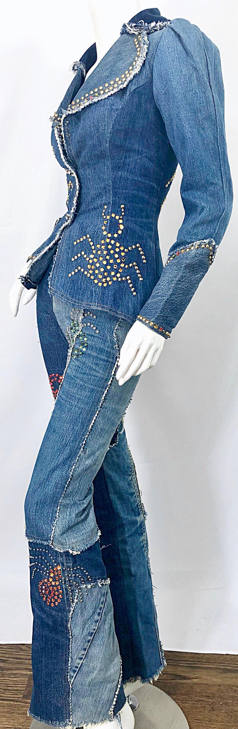 Women's Musuem Piece Love, Melody Sabatasso 1970s Custom Blue Jean Denim Rhinestone Suit For Sale