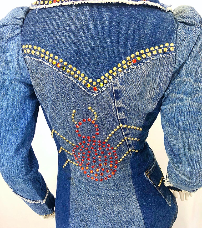 Musuem Piece Love, Melody Sabatasso 1970s Custom Blue Jean Denim Rhinestone Suit For Sale 2