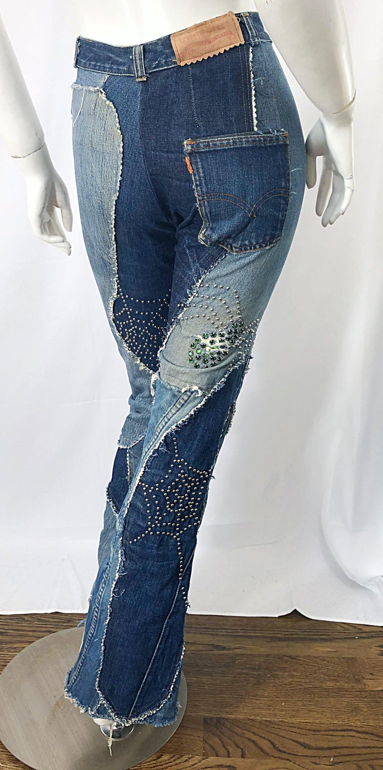 Musuem Piece Love, Melody Sabatasso 1970s Custom Blue Jean Denim Rhinestone Suit For Sale 3