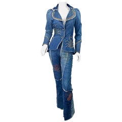 Musuem Piece Love, Melody Sabatasso 1970s Custom Blue Jean Denim Rhinestone Suit