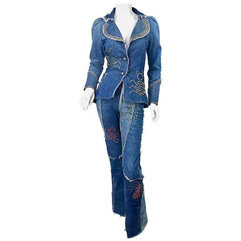 Musuem Piece Love, Melody Sabatasso 1970s Custom Blue Jean Denim Rhinestone Suit For Sale