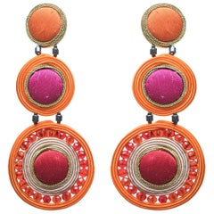 Musula Afrikania Baobab Red Soutache Earrings w/silver closure