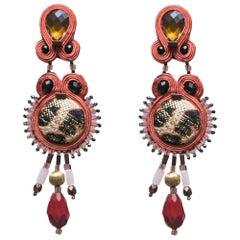 Musula Afrikania Leopard  Bordeaux Love Soutache Earrings w/silver closure