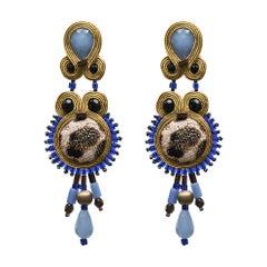 Musula Afrikania Leopard Lagoon Soutache Earrings w/silver closure
