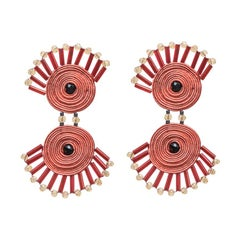 Musula Afrikania Pigmeos Corail Earrings w/silver closure