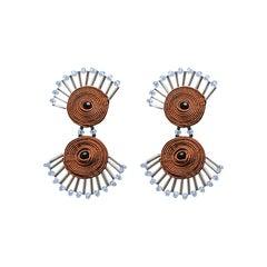 Musula Afrikania Pigmeos Tobacco Earrings w/silver closure