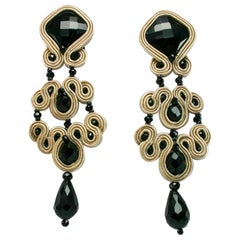 Musula Jet Black Gothic Marble Soutache Earrings w/silver closure
